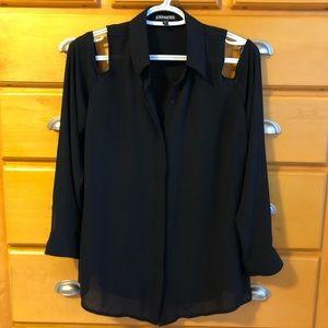 Express cold shoulder button down blouse